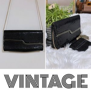 1980s black mesh clutch/shoulder bag, gold accents
